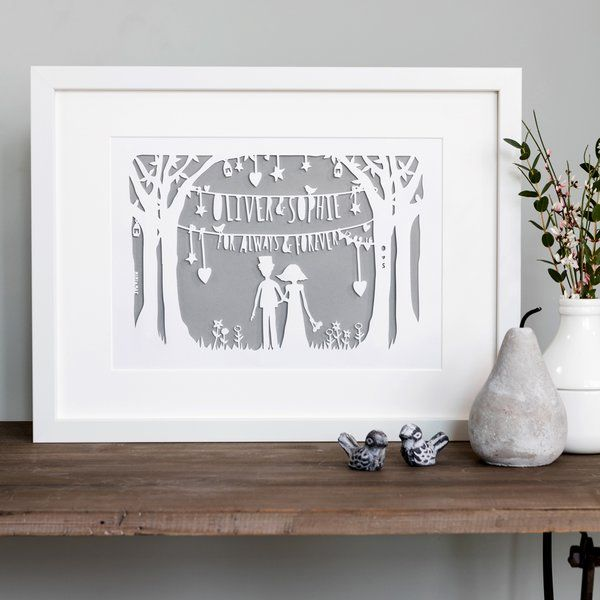 Personalised Heart Strings Print Or Papercut
