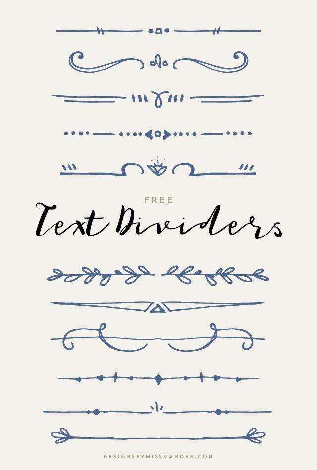 Text Dividers (Designs By Miss Mandee) | Art ideas | Bullet journal