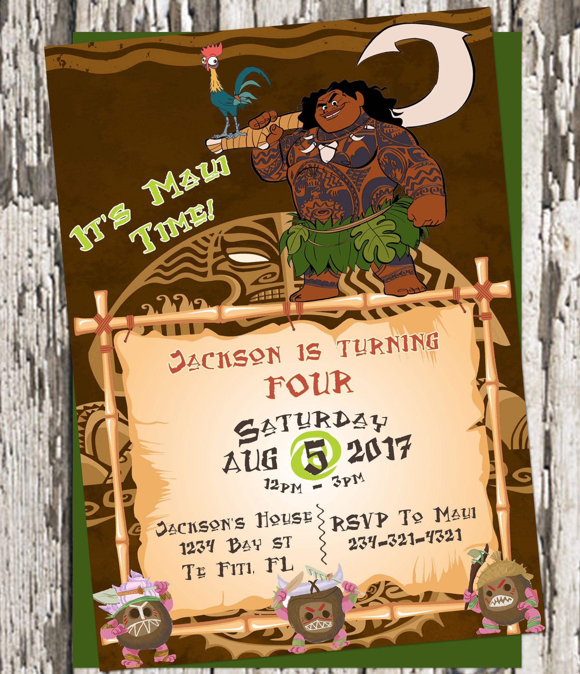 Its Maui Time Moana Party Hei Invites