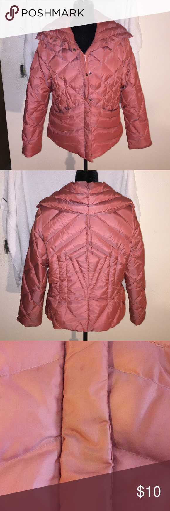 Westbound Puffy Coat Westbound Puffy Coat, Size-M, coral, zips & snaps, shell-62% nylon, 38% polyester, lining-100% polyester, filler-70% Down cluster, 30% waterfowl feathers, good condition Jackets & Coats Puffers