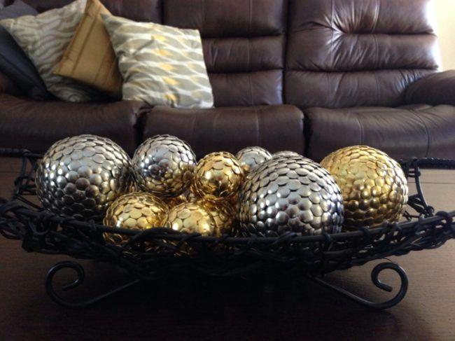 basteln mit styroporkugeln herbst deko gold silber basteln styroporkugeln pinterest. Black Bedroom Furniture Sets. Home Design Ideas