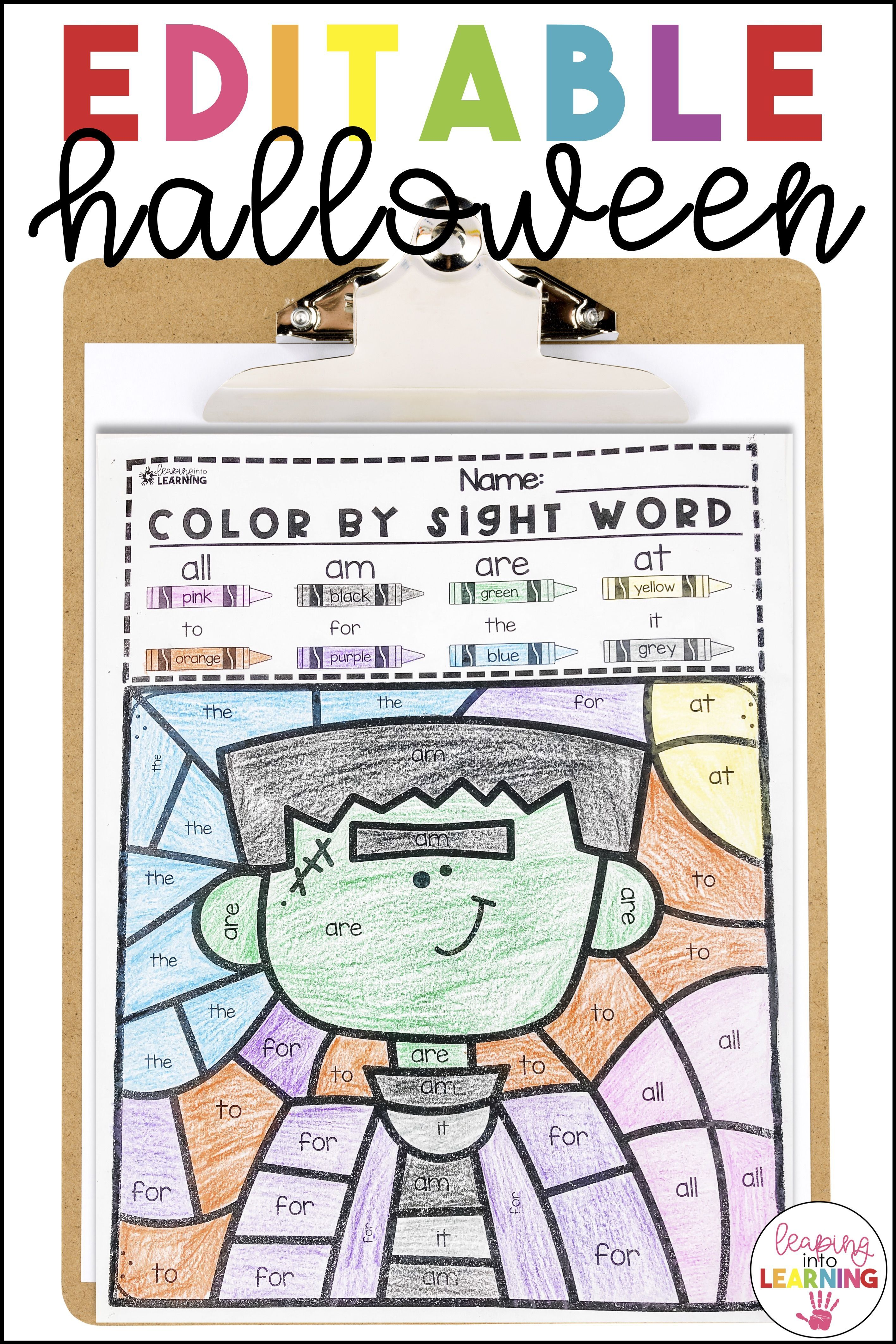 Color By Sight Word Halloween Amp Editable