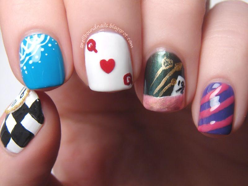 Easy Alice in Wonderland Nails images | Hair, make up, nails ...