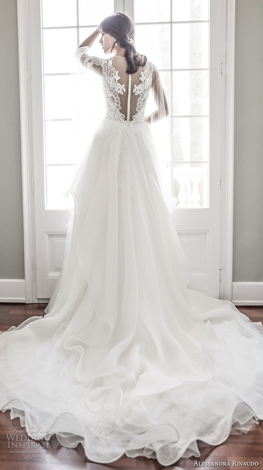 Lace wedding dress with cap sleeves sweetheart neckline  Alessandra Rinaudo  Wedding Dresses  Chapel train Wedding
