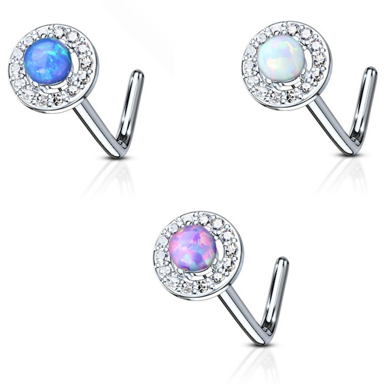 Nose Stud Nose Jewelry L shape 20g Blue Opal Nose Ring Nose Piercing Nose Ring