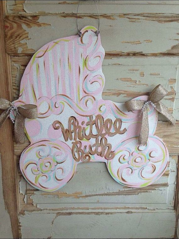 Baby Carriage Hospital Birth Announcement Door by queensofcastles – Hospital Birth Announcements