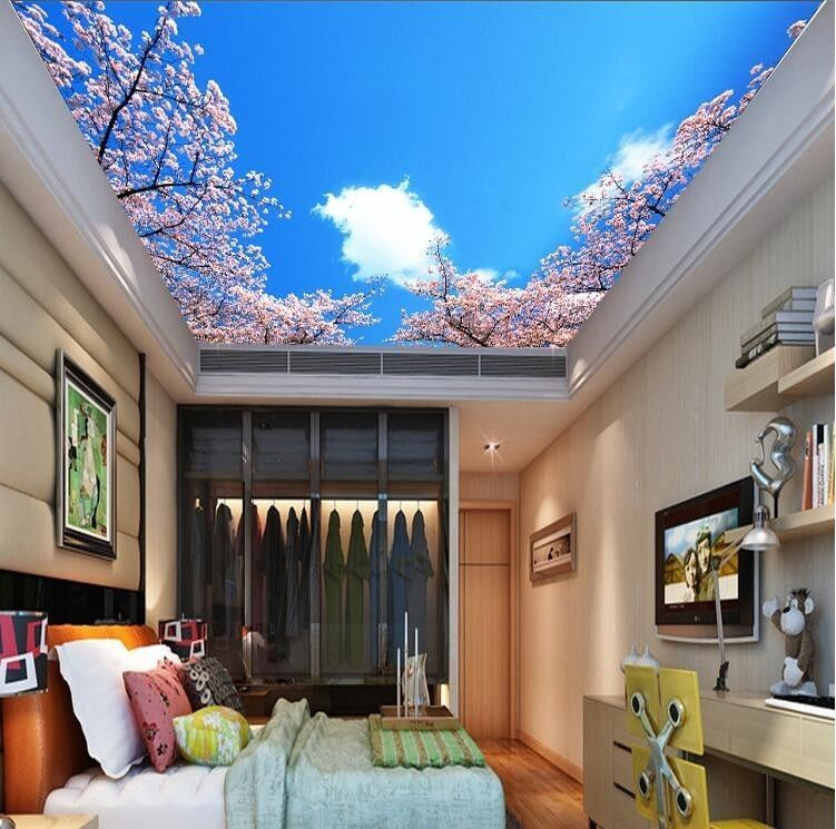 3d Wallpaper Mural Night Clouds Star Sky Wall Paper: 3D Wallpaper Mural Sky Clouds Cherry Background Top