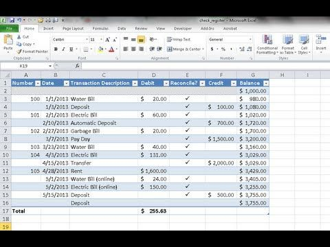 Create A Checkbook Register In Excel  Youtube  Finances