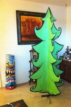 Make A Cartoon Christmas Tree Grinch Christmas Decorations Cartoon Christmas Tree Cardboard Christmas Tree