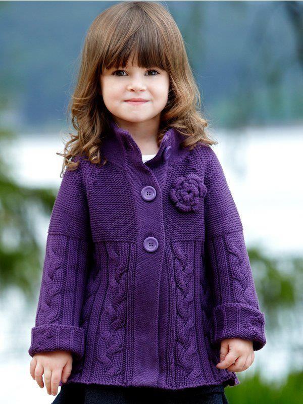 23b69d910445e3 Elegante abrigo tejido en agujas. El color; ¡excelente! | crochet ...