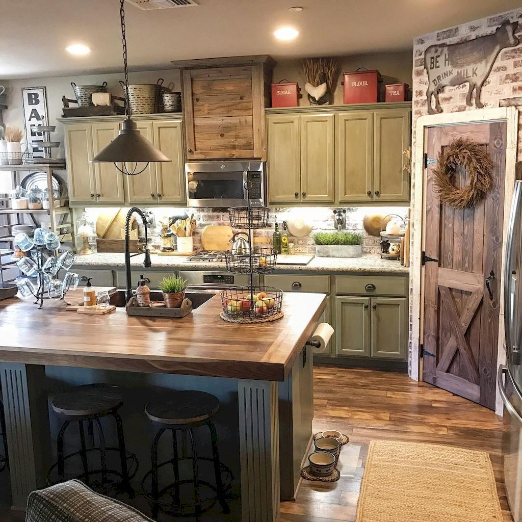 90 Rustic Kitchen Cabinets Farmhouse Style Ideas (31 ... on Rustic Farmhouse Kitchen  id=90222