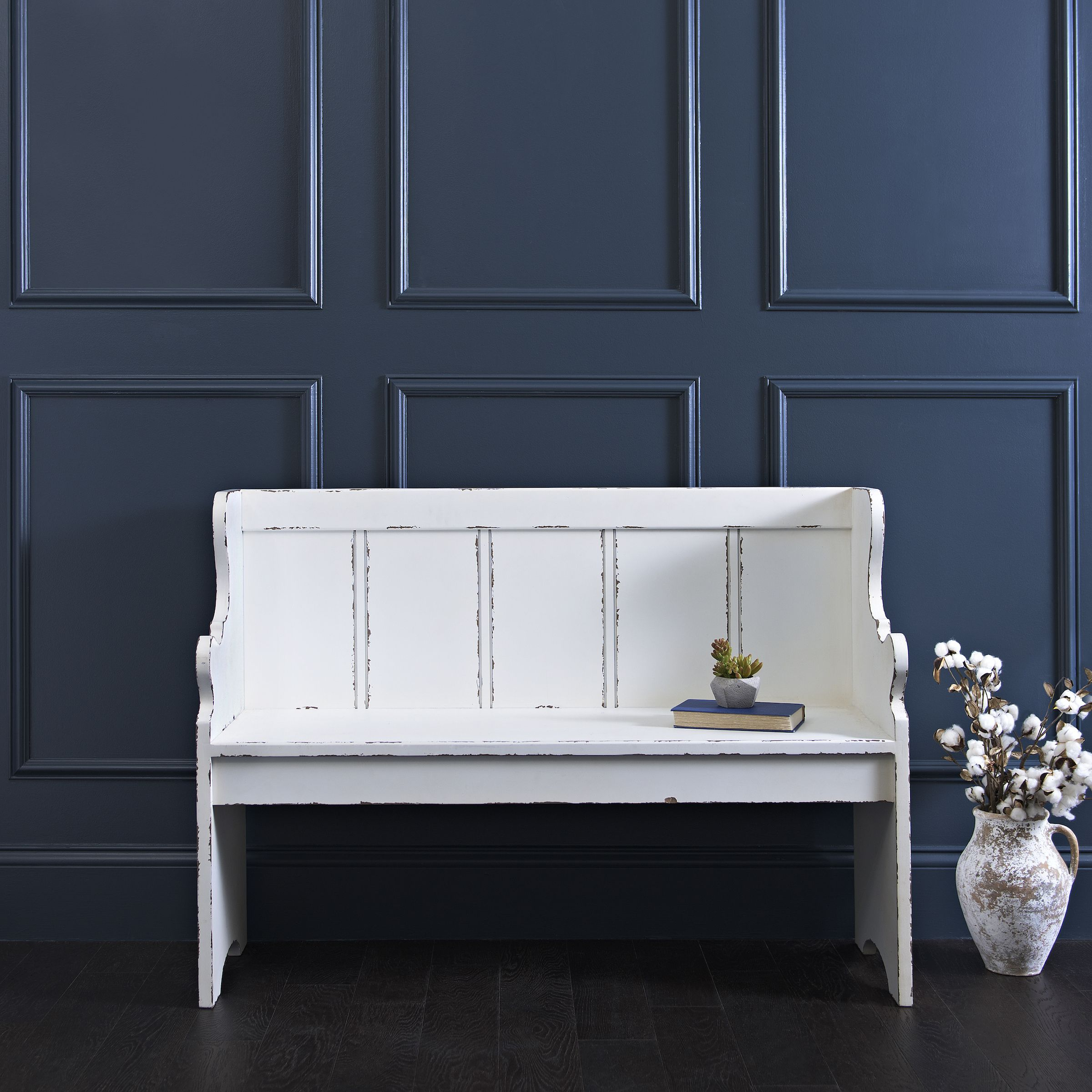 Distressed Farmhouse Living Room: Product Details Distressed Ivory Pew Bench In 2019