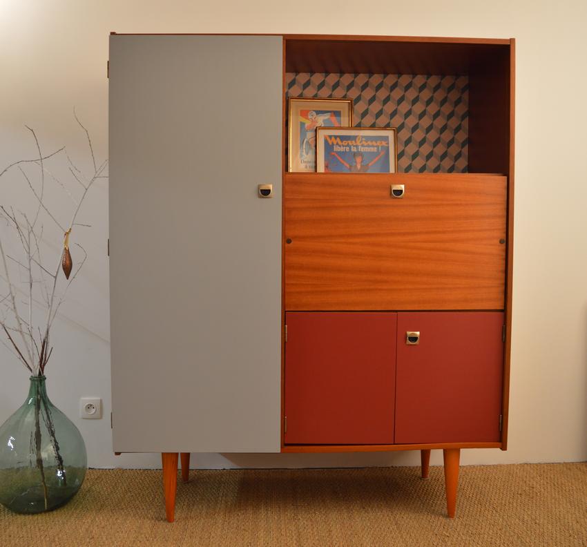 Armoire Secretaire Vintage Au Design Scandinave Entierement