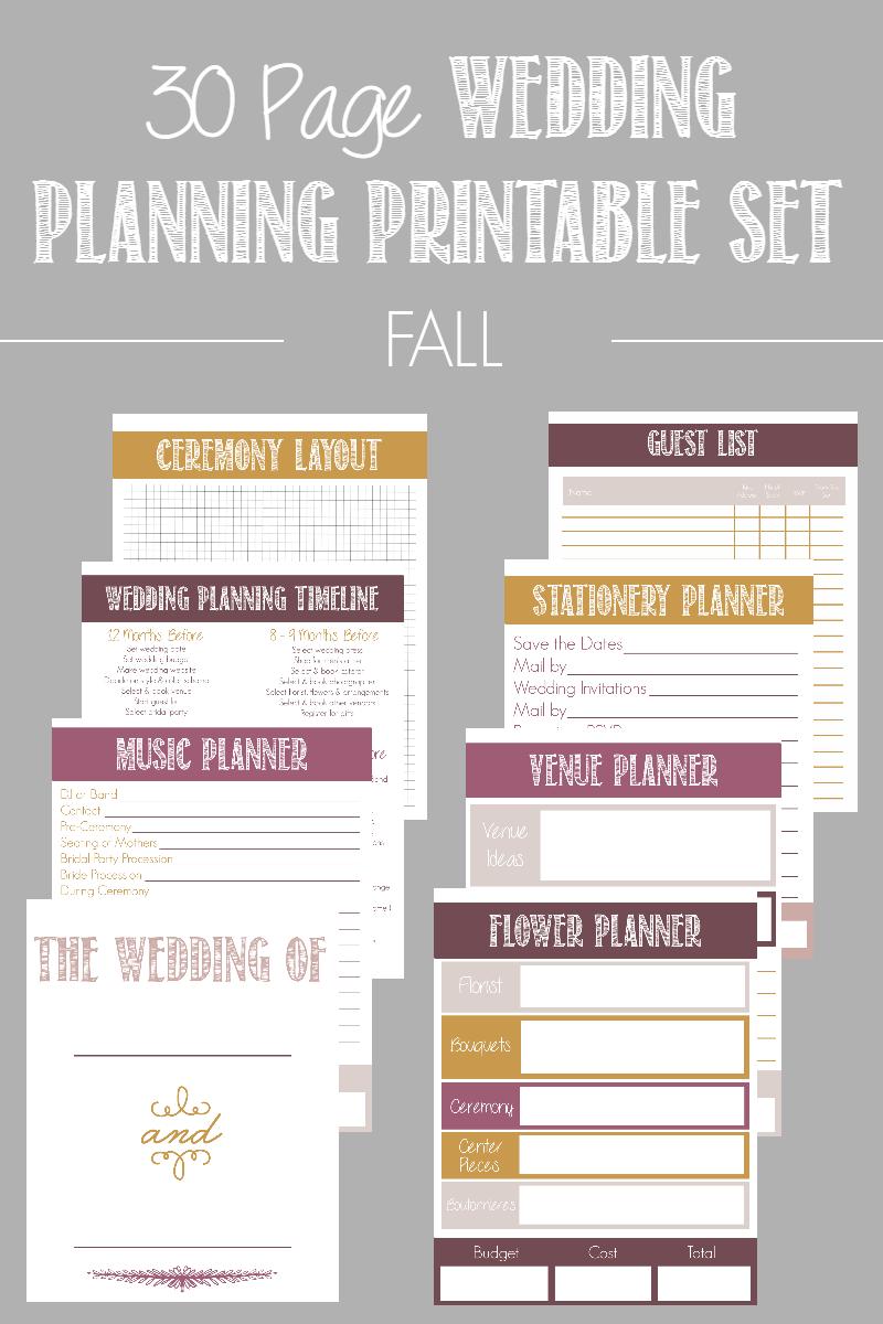 30 Page Wedding Planning Printable Set Wedding planning