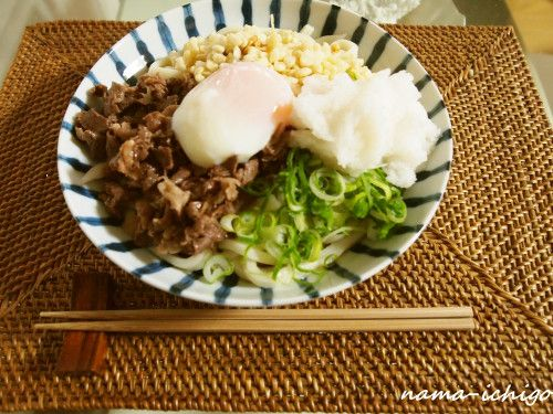 Authentic Sanuki-style Bukkake Udon with Soft Poached Egg and Beef