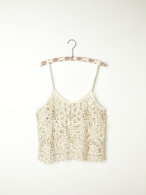 Free people Cropped white crochet top