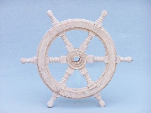 Classic Wooden Whitewashed Decorative Ship Steering Wheel 12 In