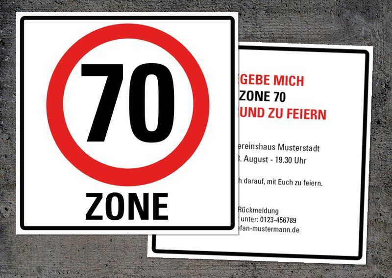 Einladung Zum 70 Geburtstag Quadratische Karte 14x14 Cm Vorder