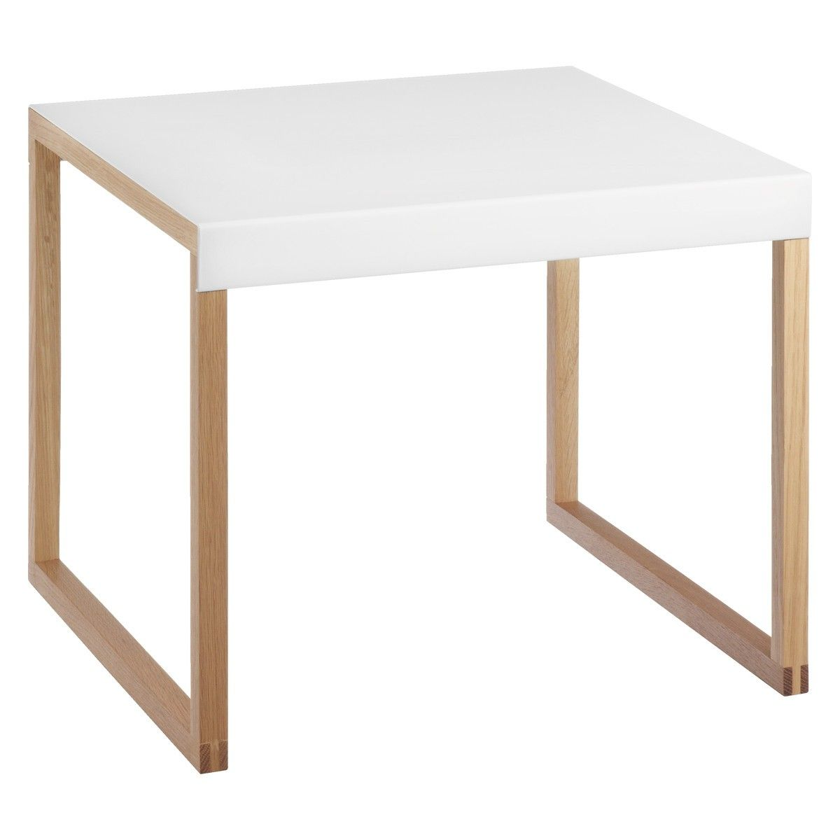 Kilo Solid Oak And White Metal Side Table Coffee Table
