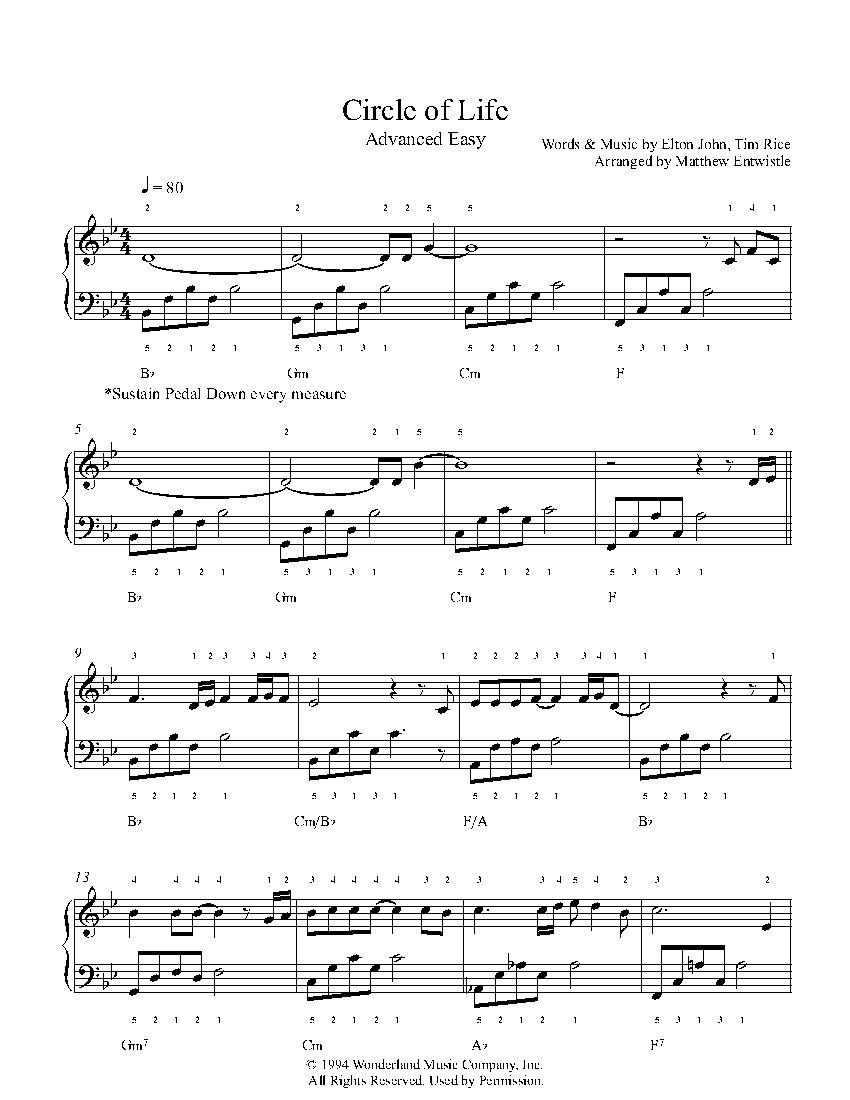 Circle Of Life By Elton John Piano Sheet Music Advanced Level Piano Music Piano Sheet Sheet Music