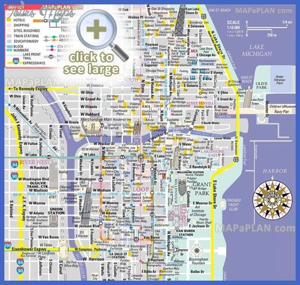 awesome Chicago Map Tourist Attractions | Tours Maps ...