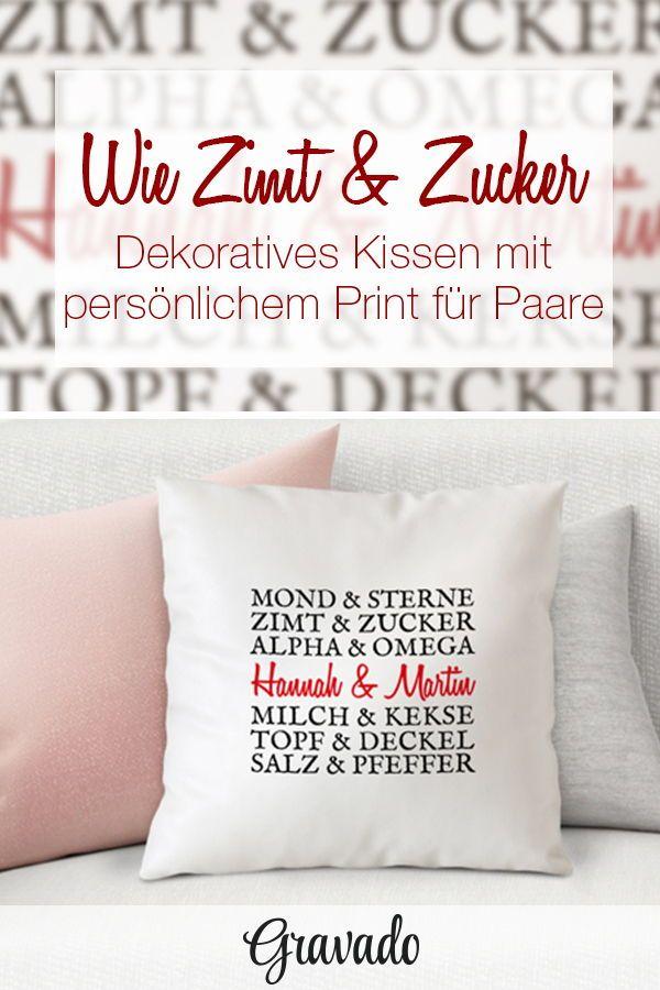 Bedrucktes Kissen Paarworte Personalisiert Geschenke Fur