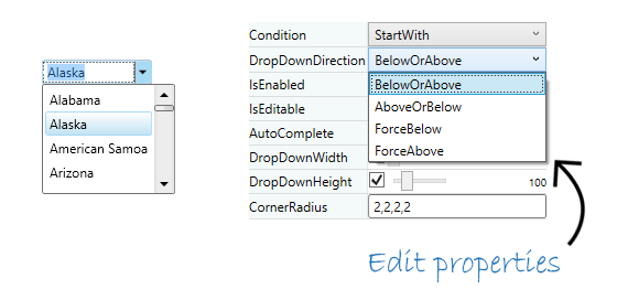 With ComboBox for WPF, you can configure the drop-down portion of