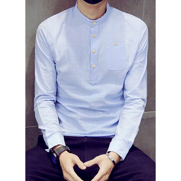 One patch pocket multi button slimming stand collar long for Mens collared henley shirt
