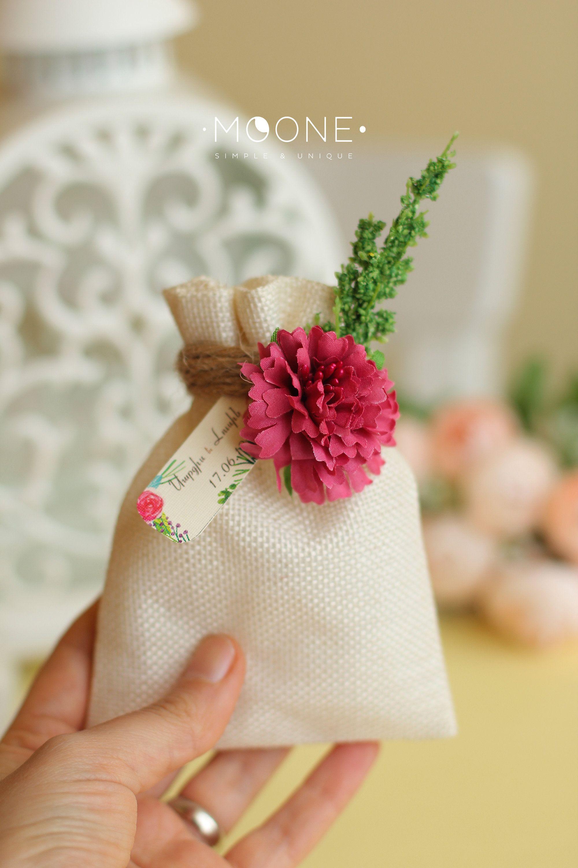 Wedding Favor Burlap Bag with Tea / Coffee Beans / Candies