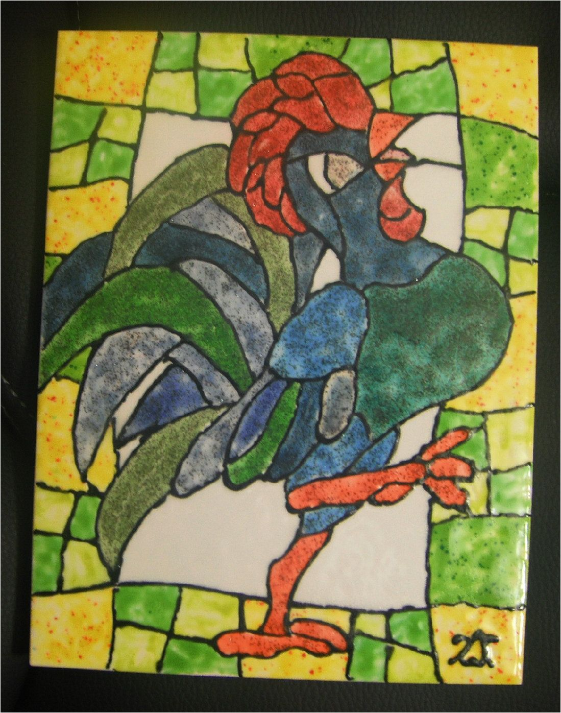 Hand Painted Decorative Tiles Unique Good Morning Rooster Hand Painted Kiln Fired Decorative Ceramic Review