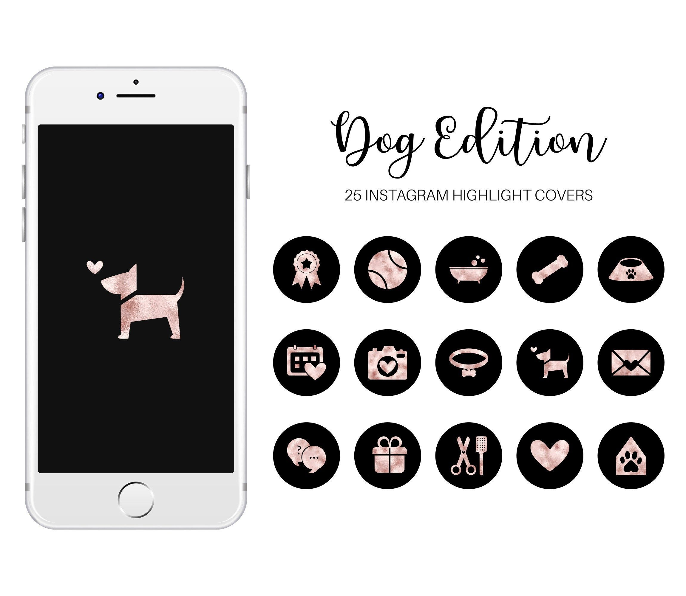 Dog Instagram Story Highlight Covers Rose Gold Dog Highlight Etsy In 2021 Instagram Story Story Highlights Instagram