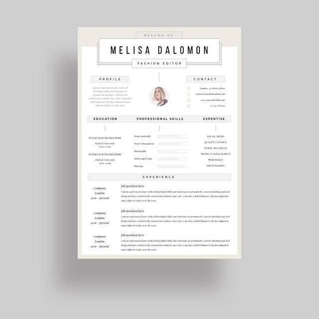 Creative and professional resume template in microsoft word Cv with - word resume template mac