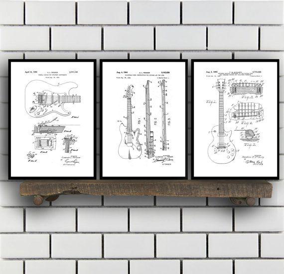 Fender Guitar Poster - 3 PACK, Fender Guitar Blueprint, Fender - best of blueprint detail crossword clue
