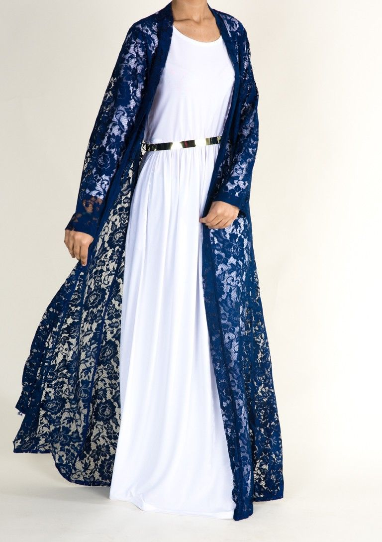 Navy Lace Maxi Cardigan | Hijab Things to Wear | Pinterest | Navy ...