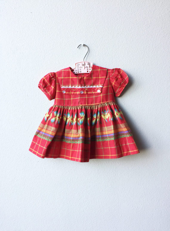 d1d1c383e85 Classic 1950s Bright Red Little Girls Dress Sailor Collar and Lace (2T)