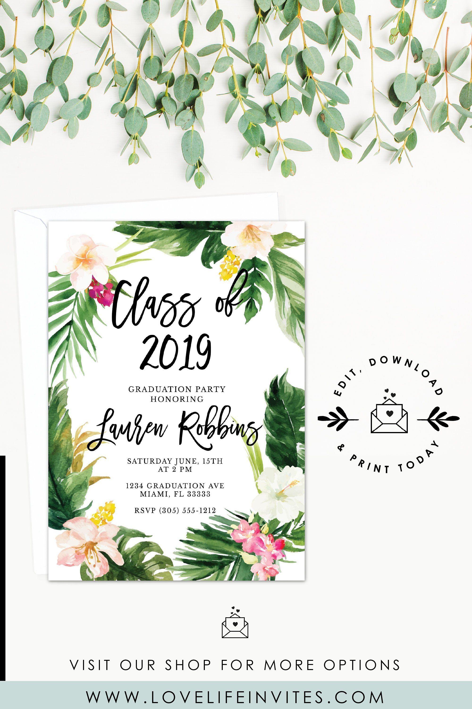 Graduation Celebration Bright Florals Graduation Party Invitation Girl Graduate Summery