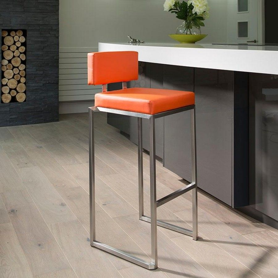 Luxury Orange Kitchen Breakfast Bar Stool Seat Barstool Stainless 912o Ultra Stylish Modern