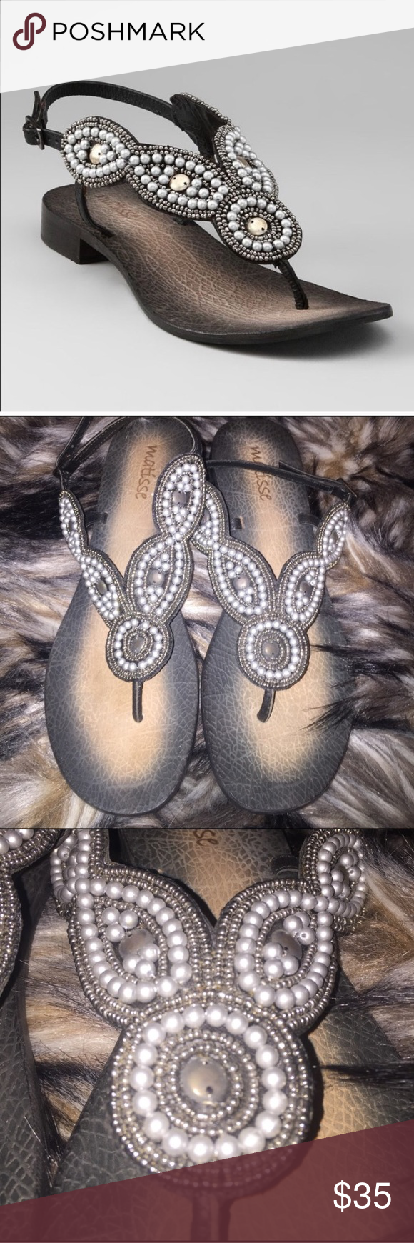 """Matisse Anthropologie Boerne Beaded Sandal 8 Matisse Anthropologie Boerne Beaded Sandals in size 8. These beautiful sandals have only been worn once and are in NEW Condition other than minor scuff on the bottom. Leather upper. Manmade Sole. Heel: 3/4"""".  Thank you! 😊 Anthropologie Shoes Sandals"""