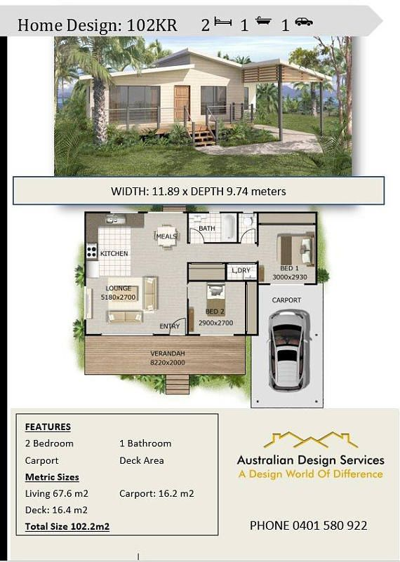 2 Bed Carport home design House Plan SALE Living Area Granny flats