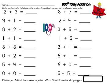 This fun activity for 100th day is available for 100 pennies ($1.00)! Students complete the math addition problems and then when they are finished they add up all the answers and it will equal 100!!!  Lets Get the Kids Excited About the 100th Day!!!!!!