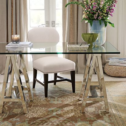 elegant home office furniture cream diy with sawhorse table legs from ikea and glass cl or local shop glass office desk desks posh classy elegant home office desk ideal home pinterest