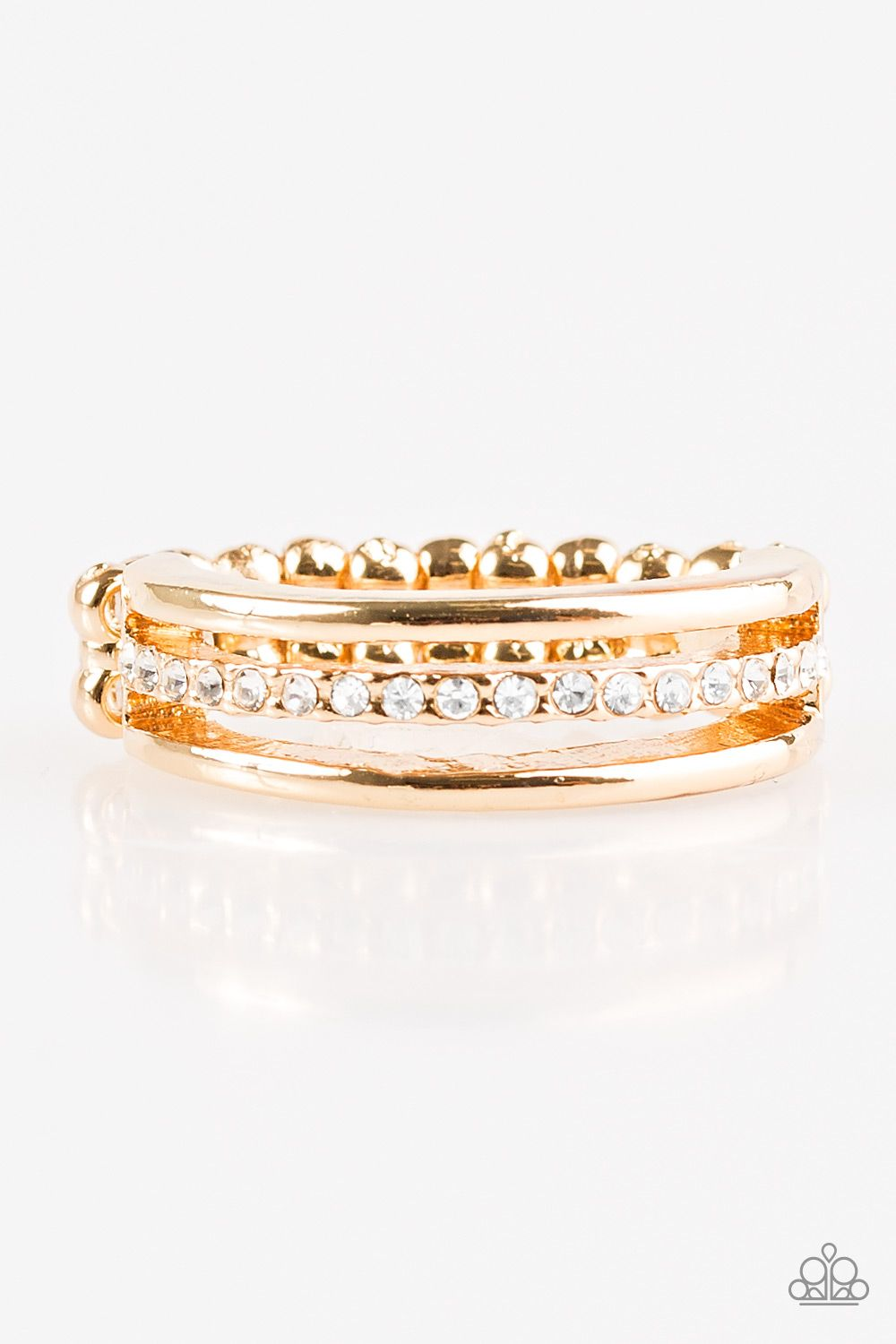 Dainty Gold Bands Layer Across The Finger The Centermost Band Is Encrusted In White Rhinestones For A Glamorous Fi Dainty Gold Band Rhinestone Ring Gold Bands