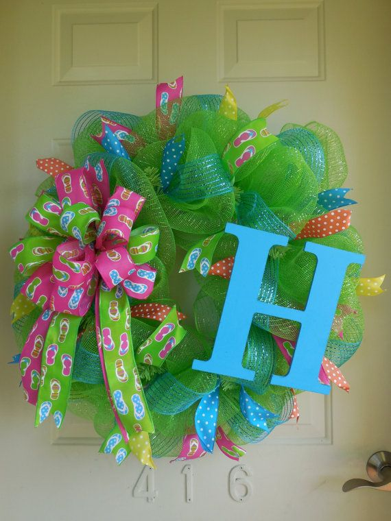 Photo of Items similar to Summer Lime Green and Turquoise Flip Flop and Polka Dot Ribbon Wreath on Etsy