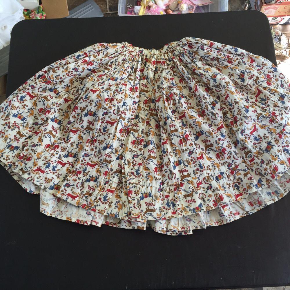 vintage pleated knee length skirt animal print horses birds deer