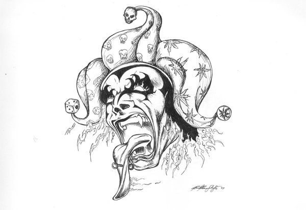 Free Tattoo Designs To Print Pin Evil Tattoos Designs Free To Download And Print On Pinterest Evil Jester Evil Tattoo Jester Tattoo