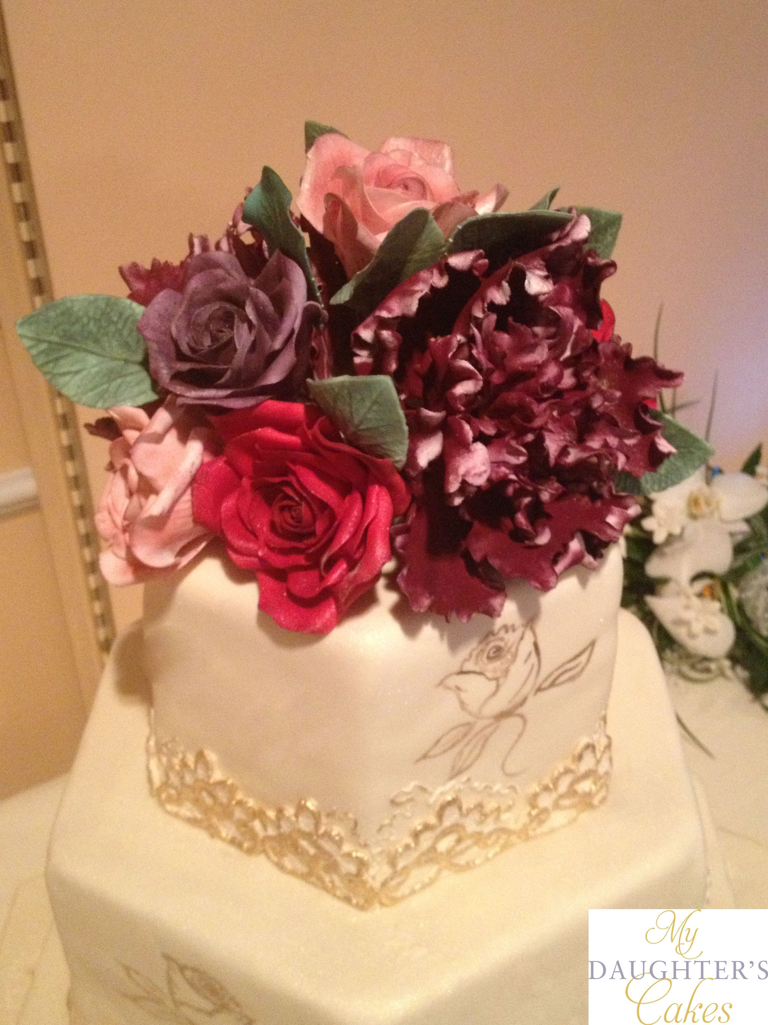 #sugarflowers by www.mydaughterscakes.com featuring bush peonies and roses #cakedesigner #njcakedesigner #nj #customcakes #goldcakes
