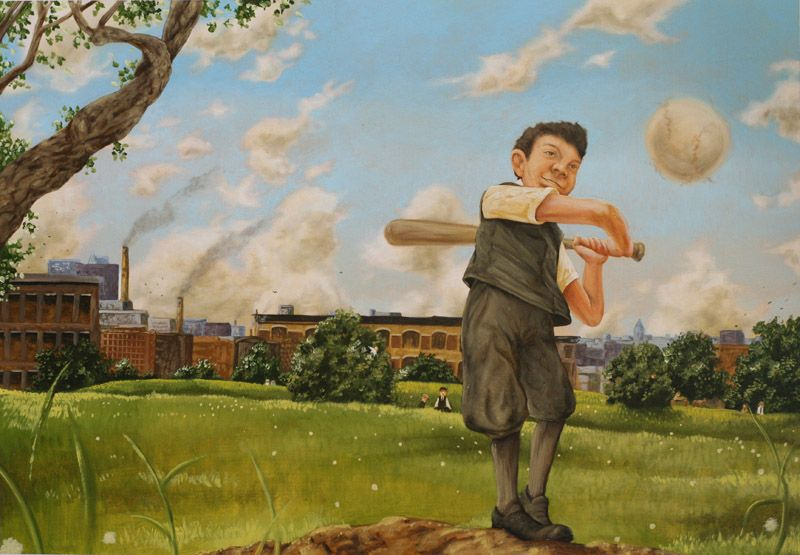 """""""He Hit the First Pitch"""" from Lipman Pike- America's First Home Run King written by Richard Michelson original illustration by Zachary Pullen   R. MICHELSON GALLERIES"""
