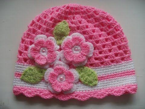 Gorro tejidos a crochet para bebe de verano - YouTube  0d4ea20568f