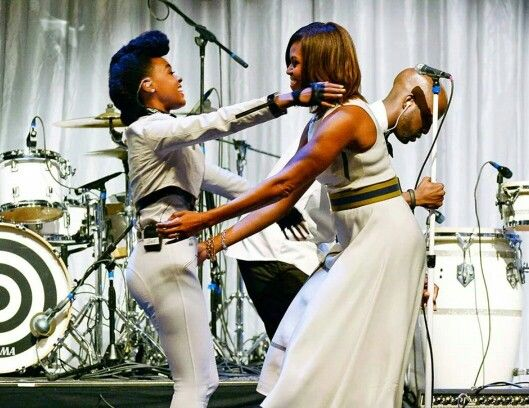 First Lady Michelle Obama honers Janelle Monae at Grammy Luncheon