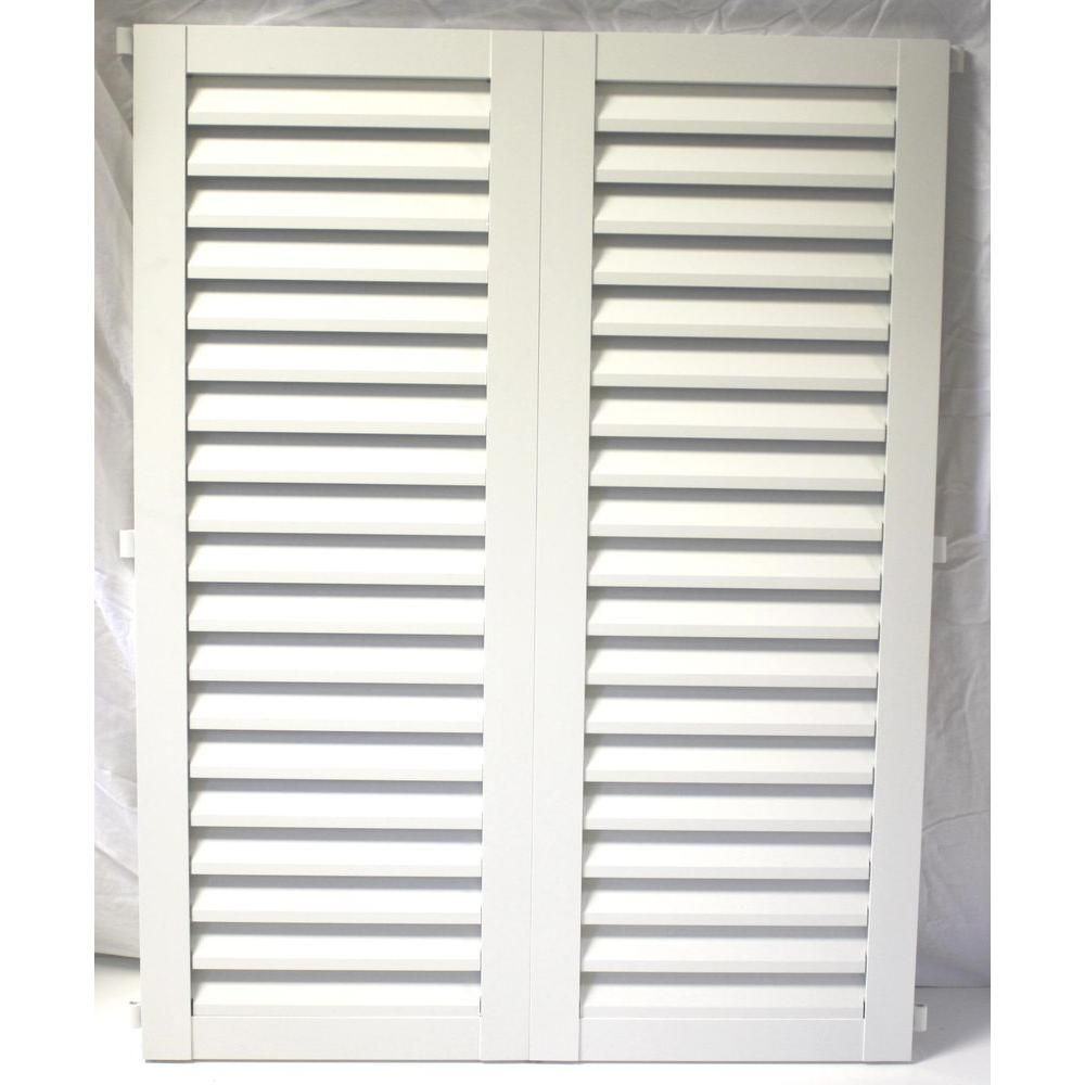 Poma 36 In X 23 75 In White Colonial Louvered Hurricane Shutters Pair 8002 Ciw 002 The Home Depot Hurricane Shutters Shutters White Shutters